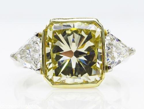 6.06ct Estate Vintage Radiant Diamond 3 Stone