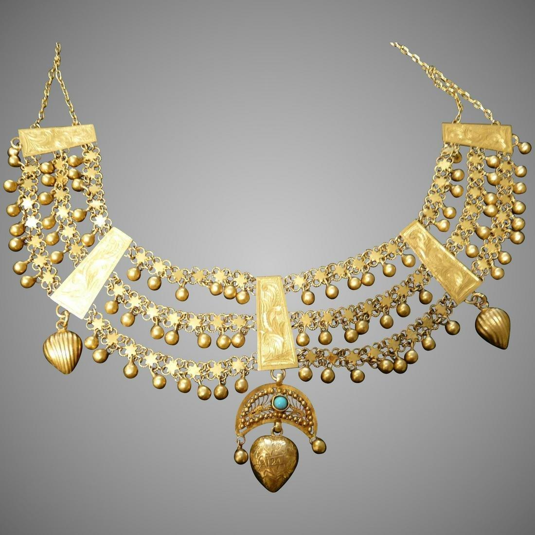 Vintage Kurdish 21 karat Gold dowry necklace