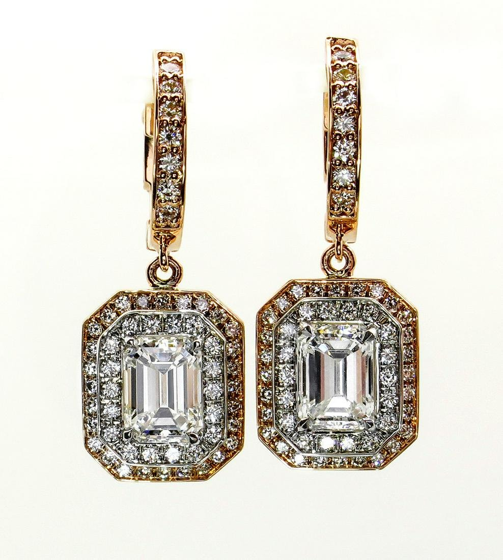 Fantastic 3.02ctw GIA Emerald Cut Diamond Dangling