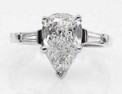 GIA SHY 200ct Estate Vintage COLORLESS Pear Diamond