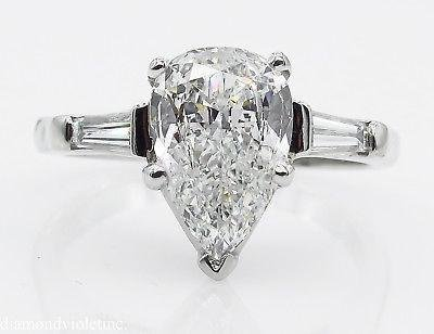 GIA SHY 2.00ct Estate Vintage COLORLESS Pear Diamond