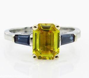 GIA 2.06ct Estate Vintage Yellow Blue Sapphire