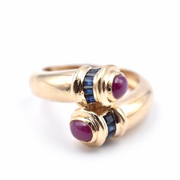 14k Yellow Gold Ruby and Sapphire Ring