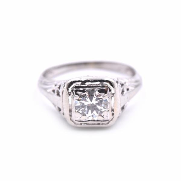 14k White Gold Diamond Engagement Art Deco Vintage Ring