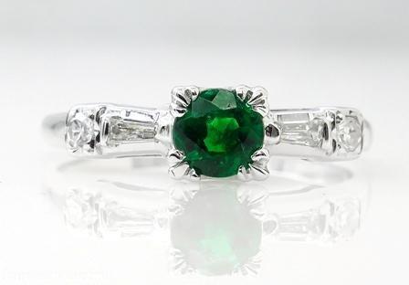 0.50ct Antique Vintage Art Deco Green Emerald Diamond