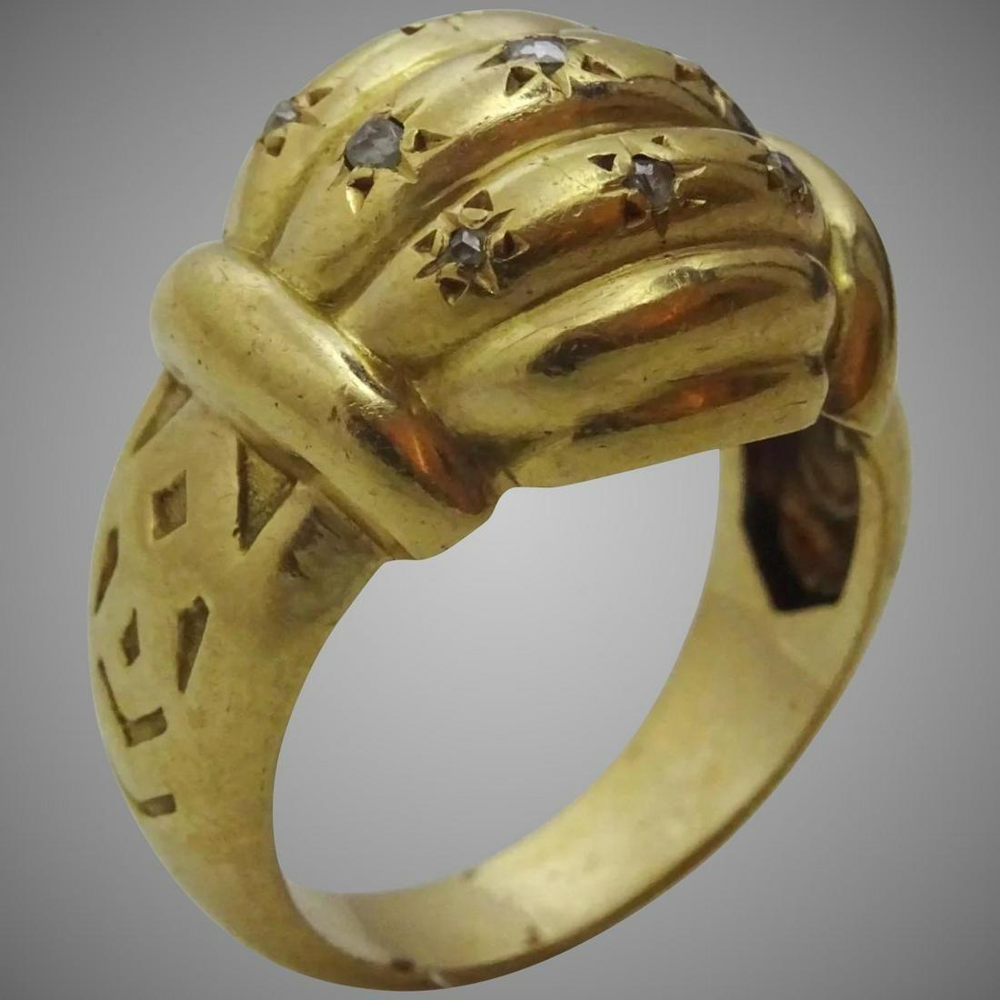 Vintage French 18 karat Gold and Diamond Ring