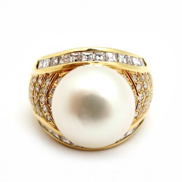 18k Yellow Gold, South Sea Pearl and 1.40cttw Diamond