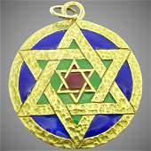 Vintage Cloisonne Enamel , 18 karat Gold Star of David