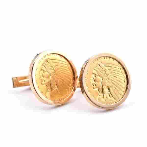 14k Yellow Gold Coin Cufflinks