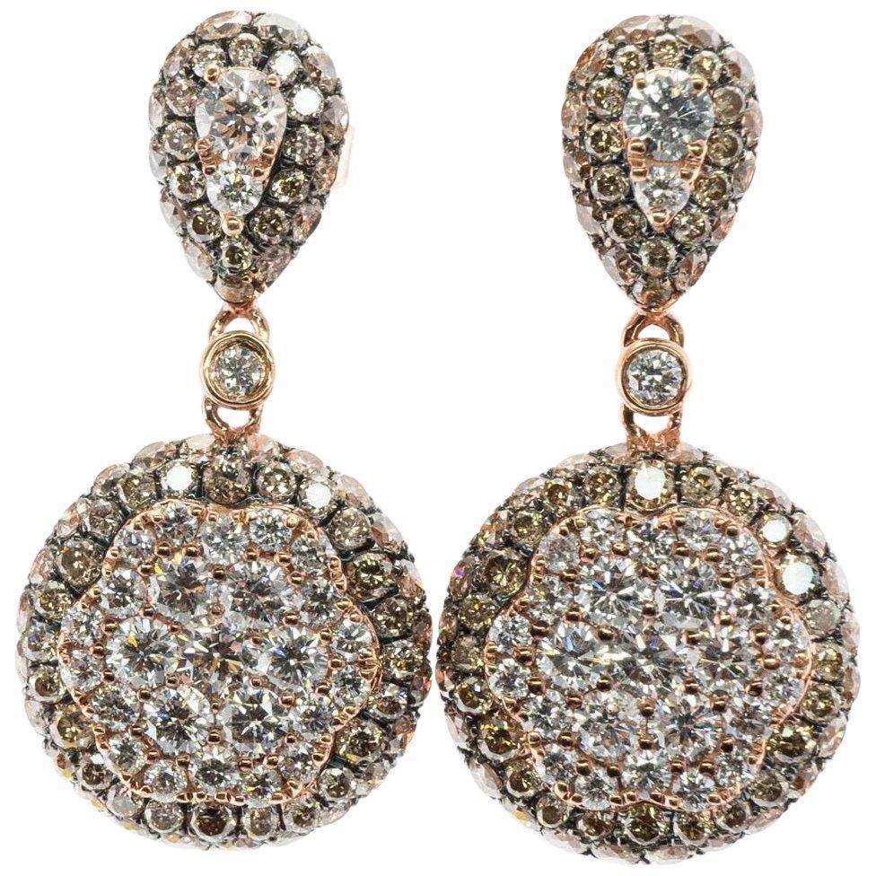 EFFY Natural Diamond Earrings 14K Rose Gold Dangle Drop