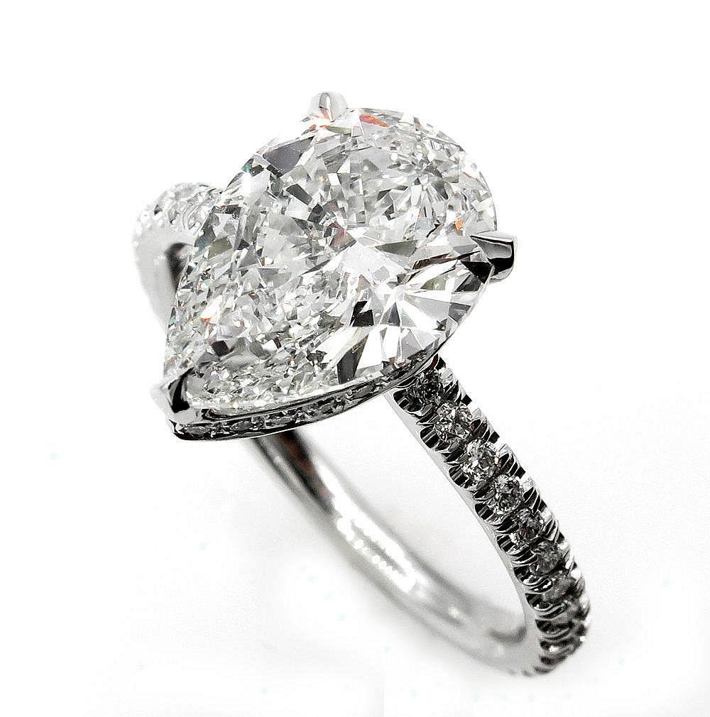 Vintage GIA 2.50ctw PEAR Shaped Diamond Pave Solitaire