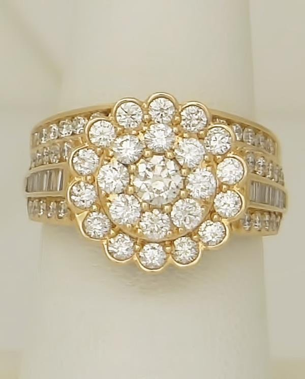 NEW 14k YELLOW GOLD 2.00ct ROUND DIAMOND FLOWER HALO