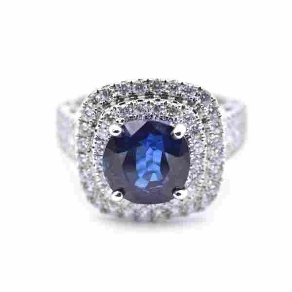 18k White Gold 391ct Sapphire and Diamond Ring