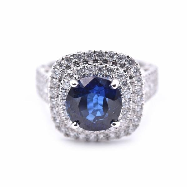 18k White Gold 3.91ct Sapphire and Diamond Ring