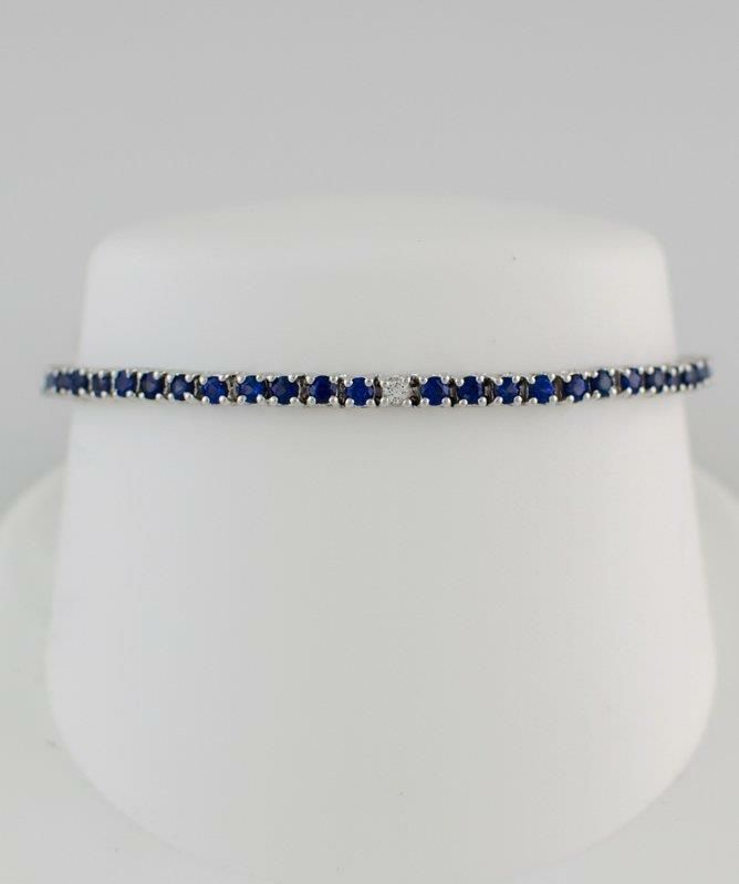 14K WHITE GOLD 550ct ROUND BLUE WHITE SAPPHIRE