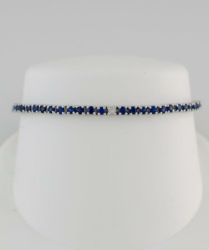 14K WHITE GOLD 5.50ct ROUND BLUE & WHITE SAPPHIRE