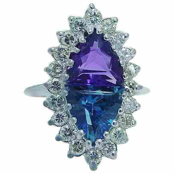 Natural Amethyst Topaz Diamond Ring 14K White Gold