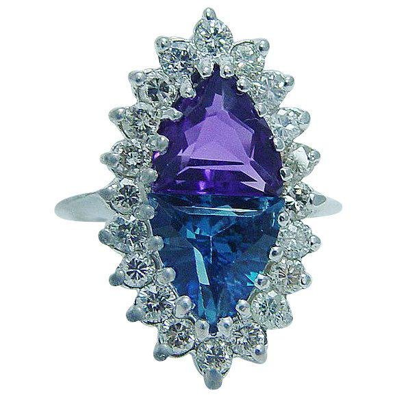 Natural Amethyst Topaz Diamond Ring 14K White Gold