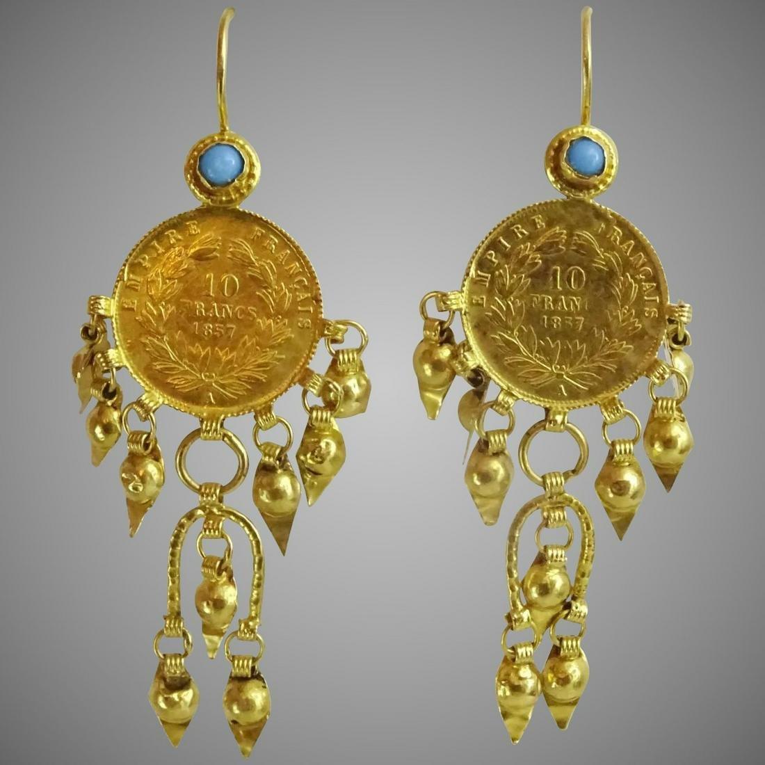 Antique Near Eastern 21 - 22 karat Gold Earrings