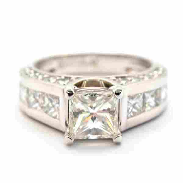Platinum 123ct Modified Princess Diamond with Diamond