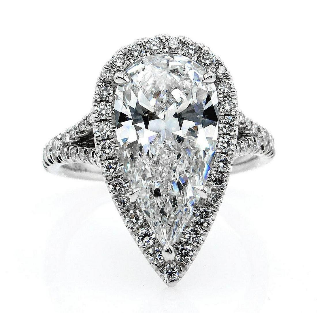 Colorless GIA 3.64ct Estate Vintage PEAR Shaped Diamond