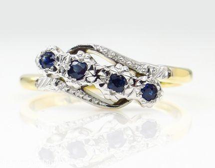 018ct Antique Vintage Blue Sapphire Four Stone
