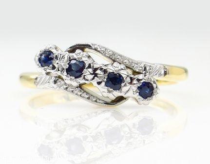0.18ct Antique Vintage Blue Sapphire Four Stone