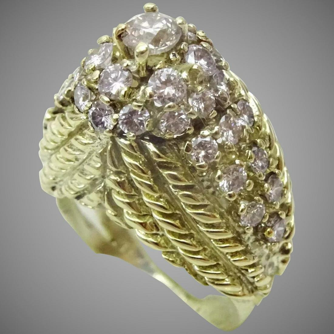 Unique 14 karat Gold and Diamond Sculpted Ring