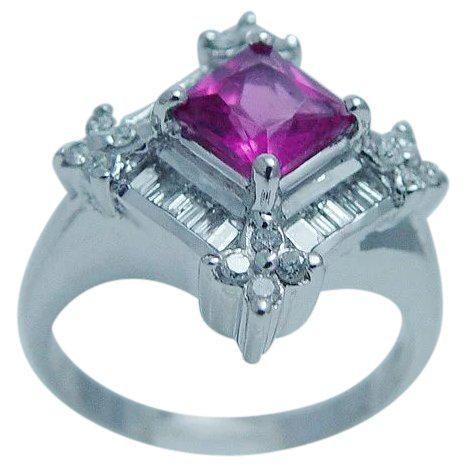 Rubellite Tourmaline Diamond Ring Genuine Natural 14K
