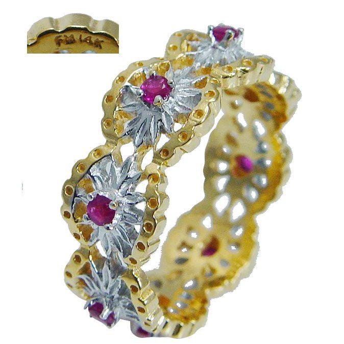 Franklin Mint Ruby Eternity Band Ring 14K Yellow Gold