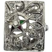 Masonic 56 Eastern Star Diamond Ring 14K White Gold