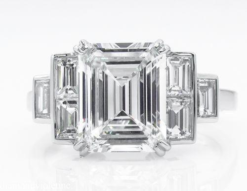GIA 3.09ct Estate Vintage Emerald Diamond Engagement