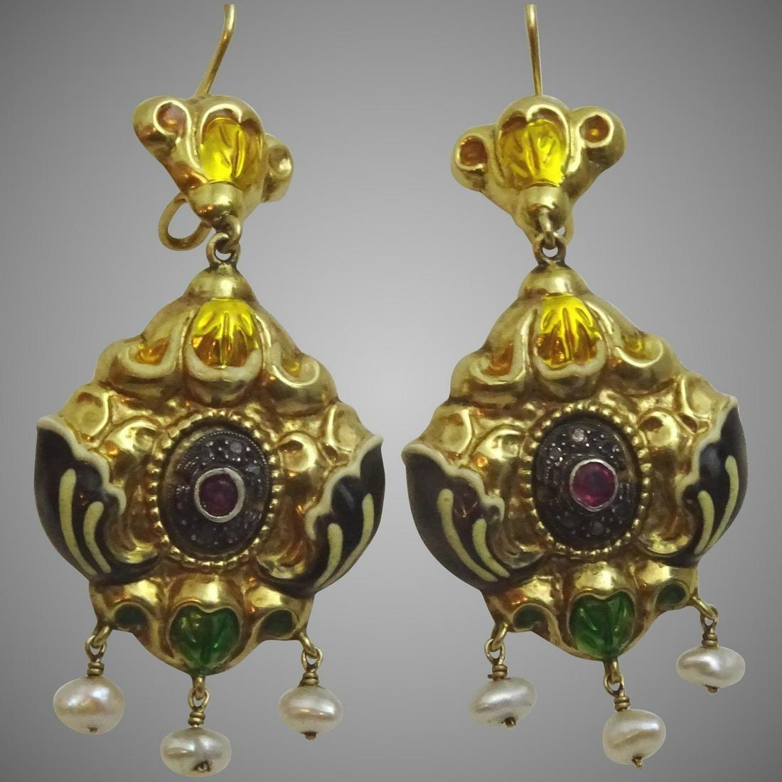 Antique 14kt gold, Enamel, Ruby & Diamond Earrings