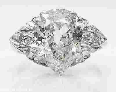 GIA 3.08ct Antique Vintage Old Mine Pear Diamond