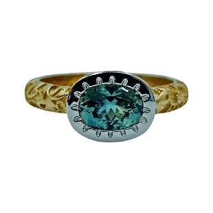 Luca Jouel Green Sapphire Platinum and 18 Carat Yellow