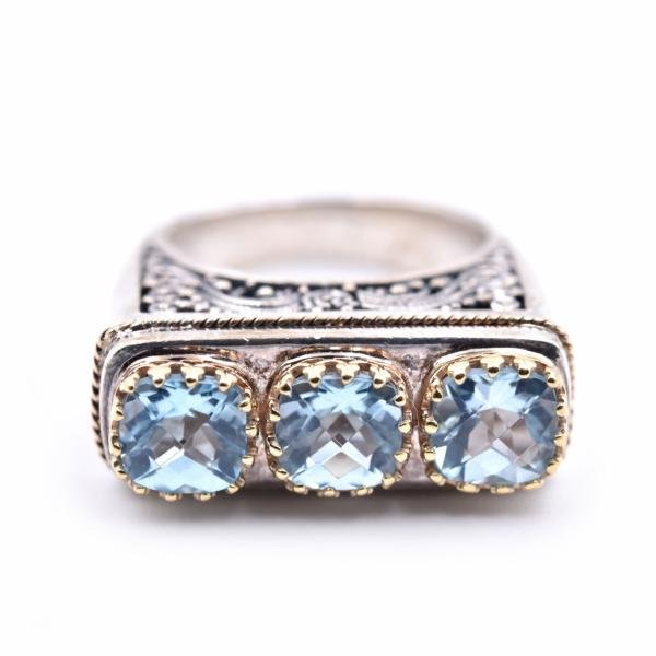 Sterling Silver 18k Yellow Gold Accents Blue Topaz