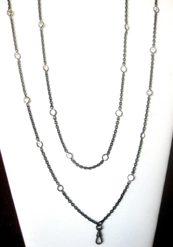 Antique 44-Inch Gunmetal Necklace With 26 Paste