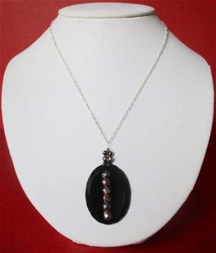 Antique French Jet Cut Steel Pendant With Sterling