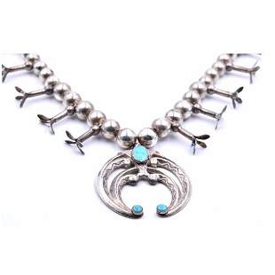 Sterling Silver Turquoise Squash Blossom