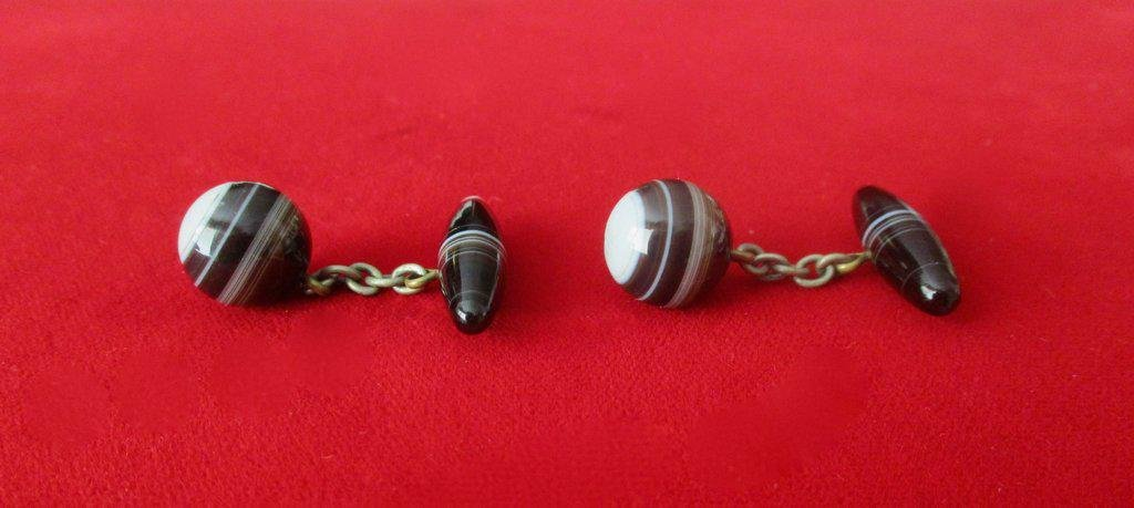 Pair of Antique Victorian Banded Agate Cufflinks