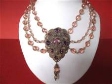 Vintage Pink Crystal Swag Necklace With Filigree