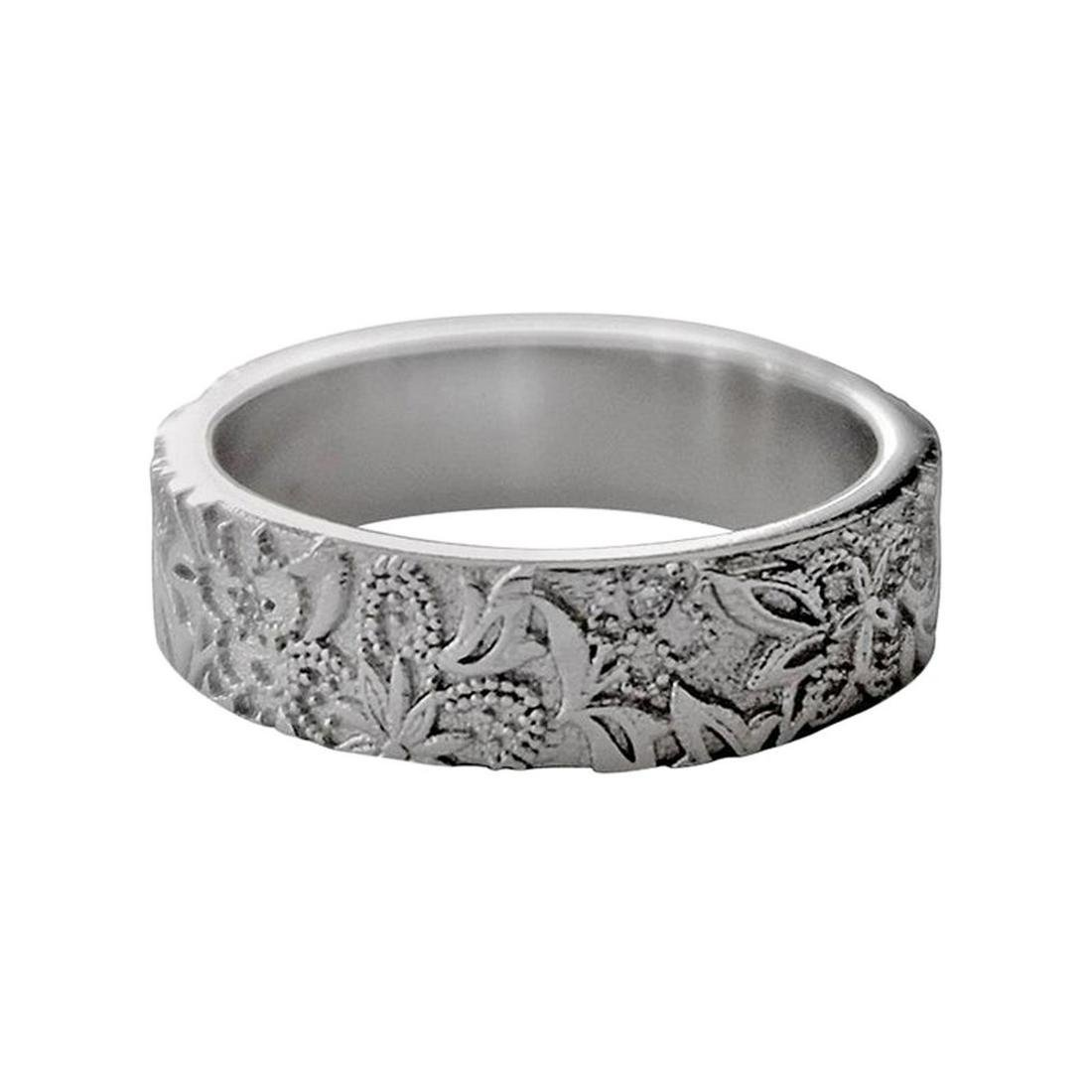 Luca Jouel Diamond Platinum Floral Band Ring