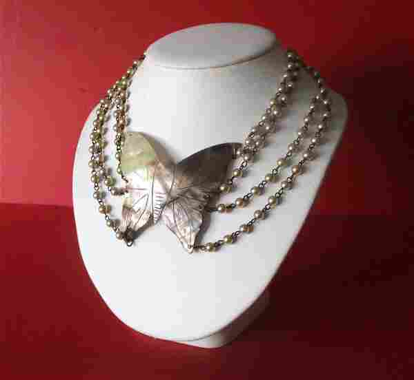 Vintage Mother-of-Pearl Butterfly Necklace With Glass