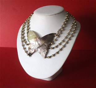 Vintage MotherofPearl Butterfly Necklace With Glass