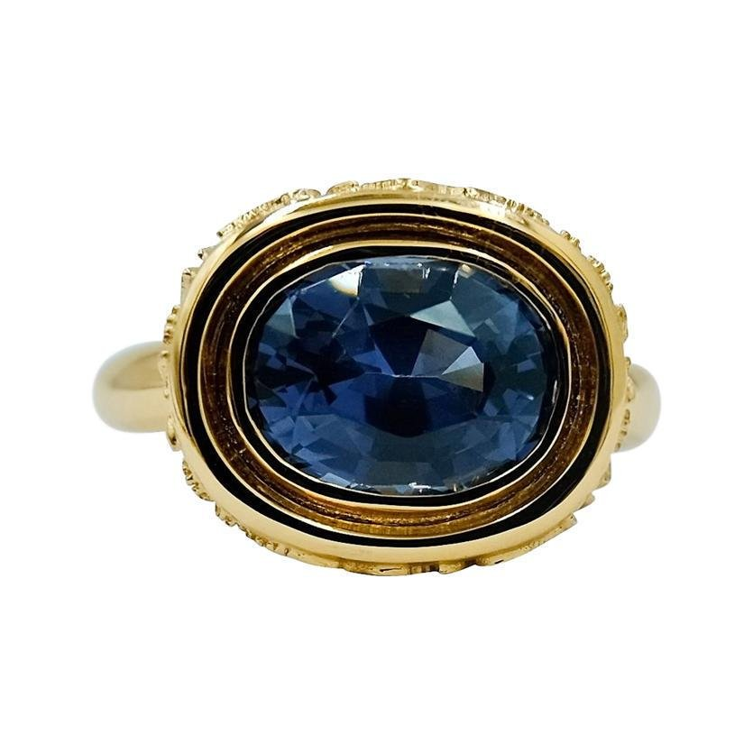 Luca Jouel Dark Blue Spinel Statement Ring in 18 Carat