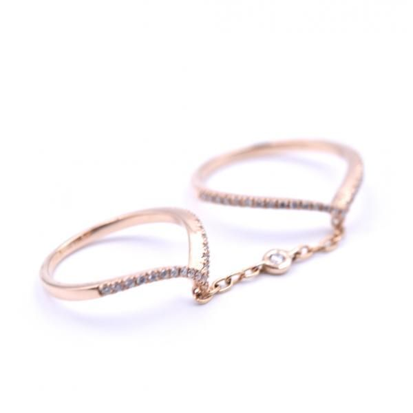 Diamond 14k Rose Gold Chained Linked Rings