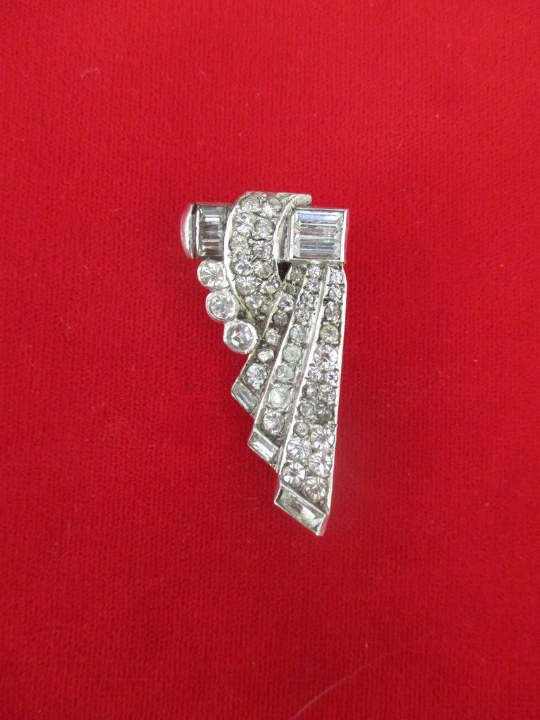 Vintage Sterling Silver & Paste Crystal Dress Clip