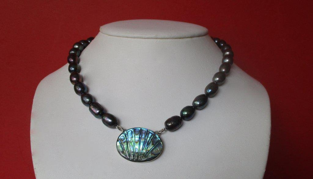 Vintage Peacock Cultured Pearl Necklace With Abalone