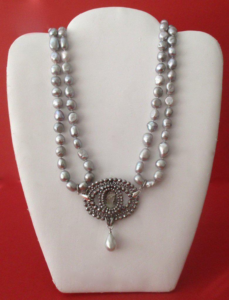 Antique Mid-19th Century Cut Steel & Baroque Pearl