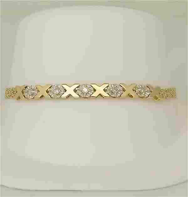 10k YELLOW GOLD XO 110ct ROUND DIAMOND MESH LINK